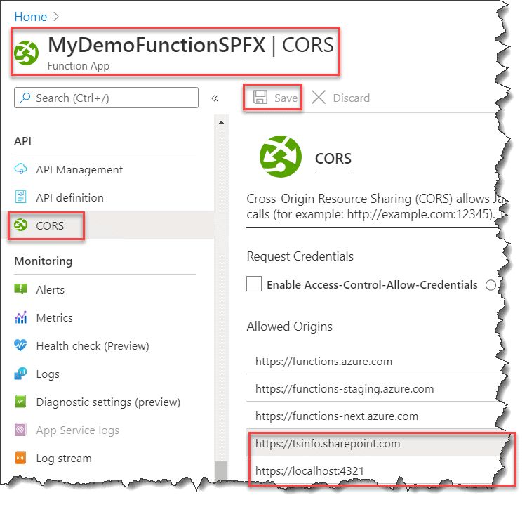 How to call Azure Function from SPFX