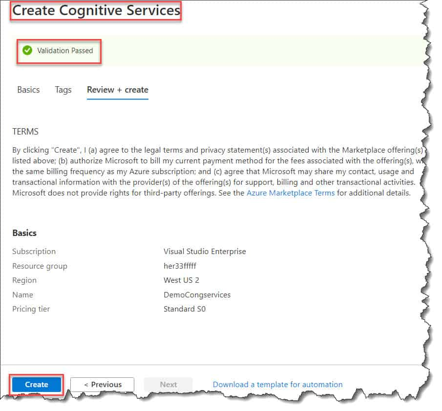 How to create Cognitive Services using Azure Portal