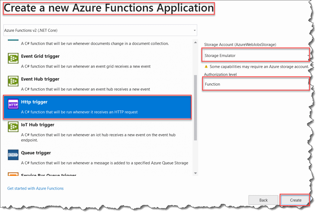 How to create the Durable Functions using Visual Studio 2017