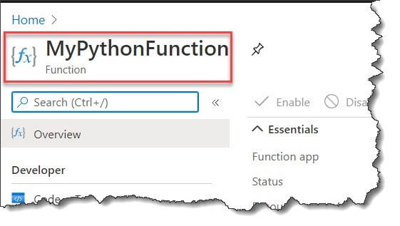 How to write Python Azure Function Azure Portal