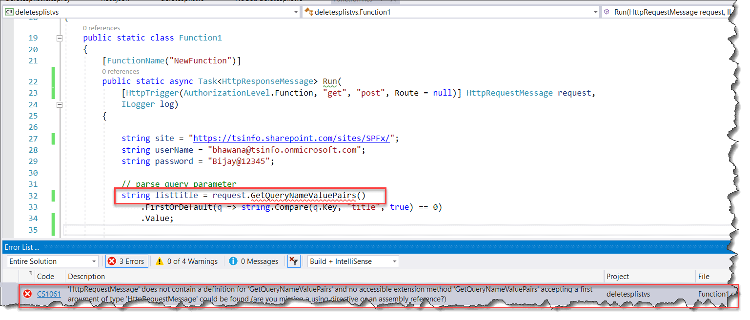 'HttpRequestMessage' Does Not Contain A Definition For 'GetQueryNameValuePairs'