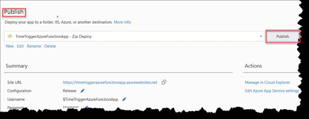 Publish Azure Functions Time Trigger using Visual Studio 2019