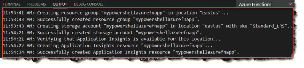 Publish PowerShell Azure Function using Visual Studio Code