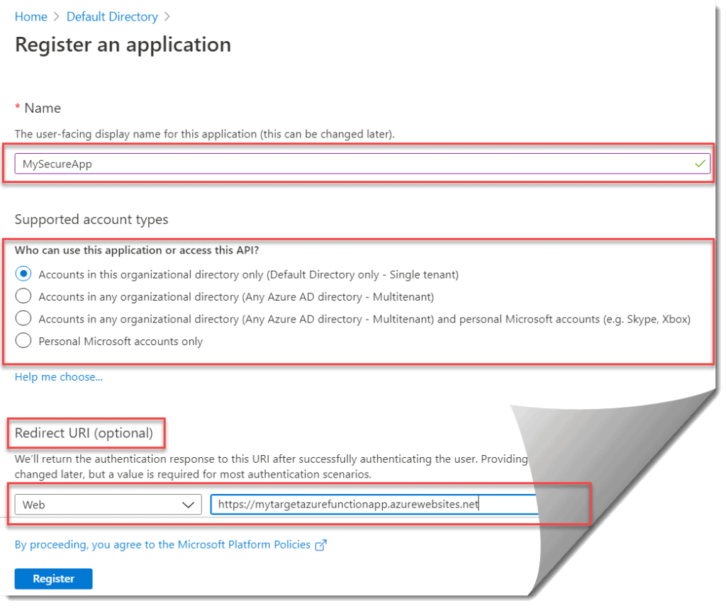 Register the Azure AD App in the Azure Portal