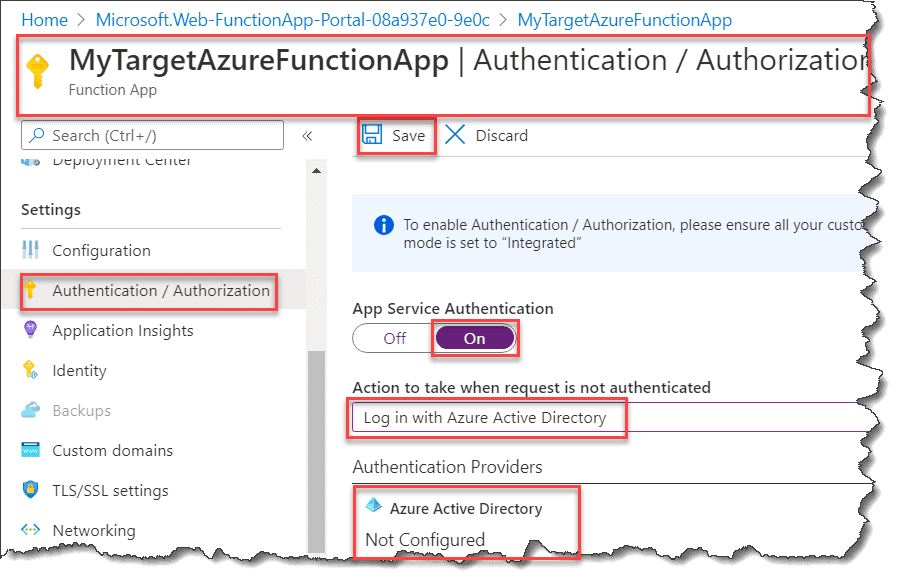 Secure a Function App with Azure Active Directory