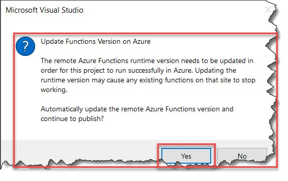 The Remote Azure Functions Runtime Version Needs To Be Updated