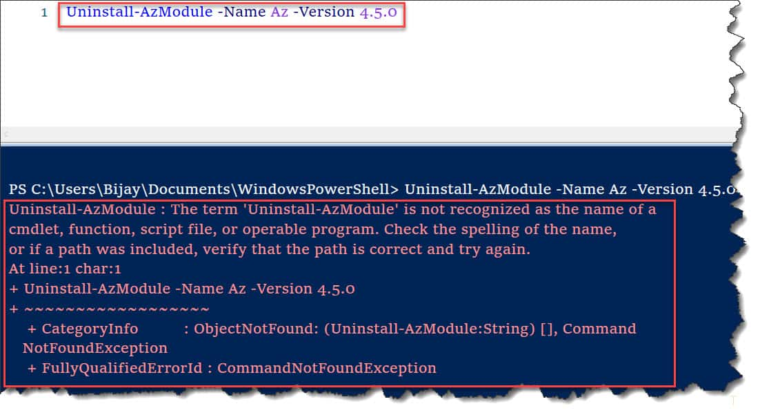 The term 'Uninstall-AzModule' is not recognized as the name of a cmdlet