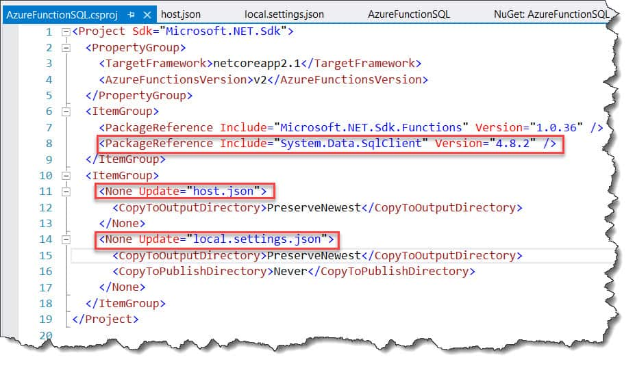 azure function SQL query database