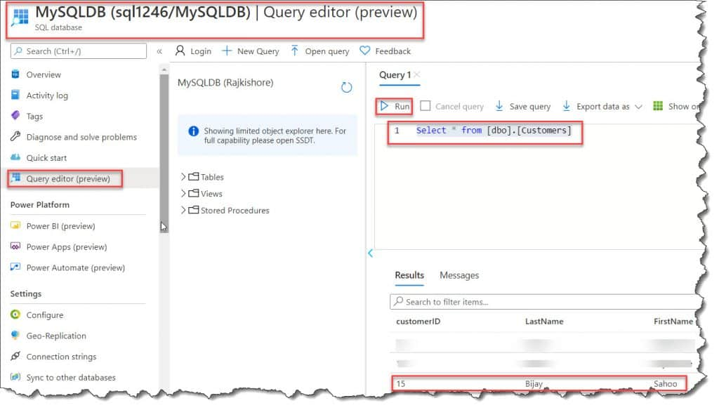 azure functions query azure sql