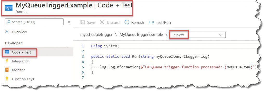 create Azure Function Queue Trigger C#