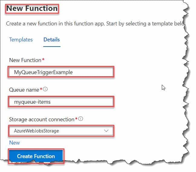 create Azure Function Queue Trigger