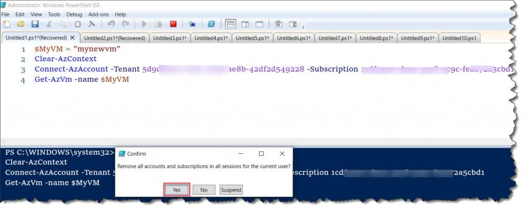 how to fix Get-AzVm  'this.Client.SubscriptionId' cannot be null