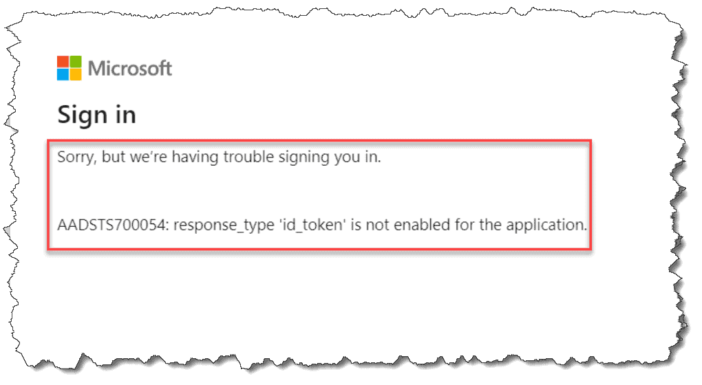 response_type 'id_token' is not enabled for the application