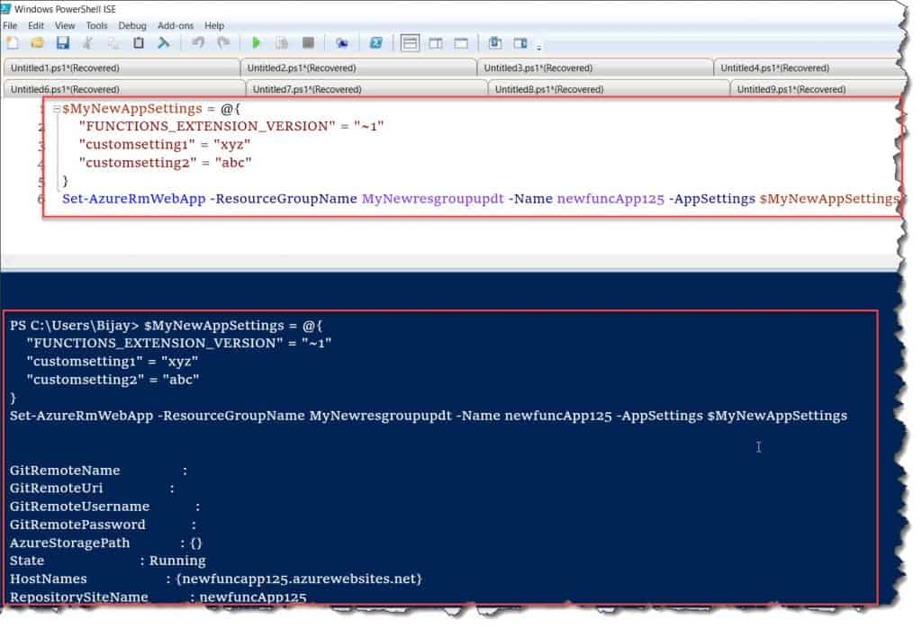 Set Azure Functions Run Time Version using PowerShell