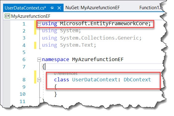 the type or namespace name 'dbcontext' could not be found