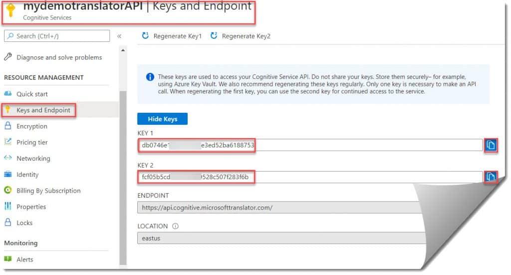 Create Azure Cognitive Services Translator Text API