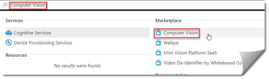 Create Azure Computer Vision API