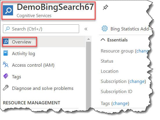 Create Microsoft Bing Search API
