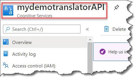Create Microsoft Translator Text API in Azure Portal