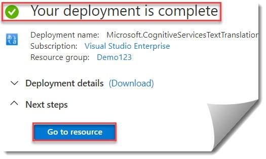 Create Microsoft Translator Text in API Azure Portal