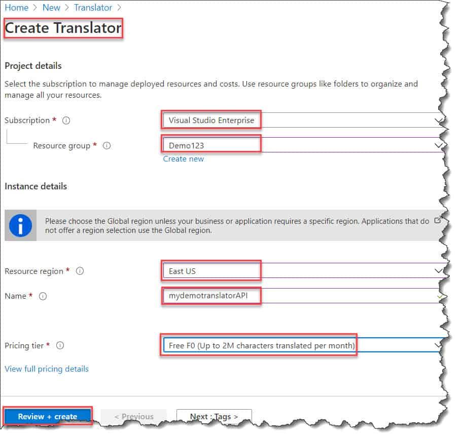 Create a Microsoft Translator Text API using Azure Portal