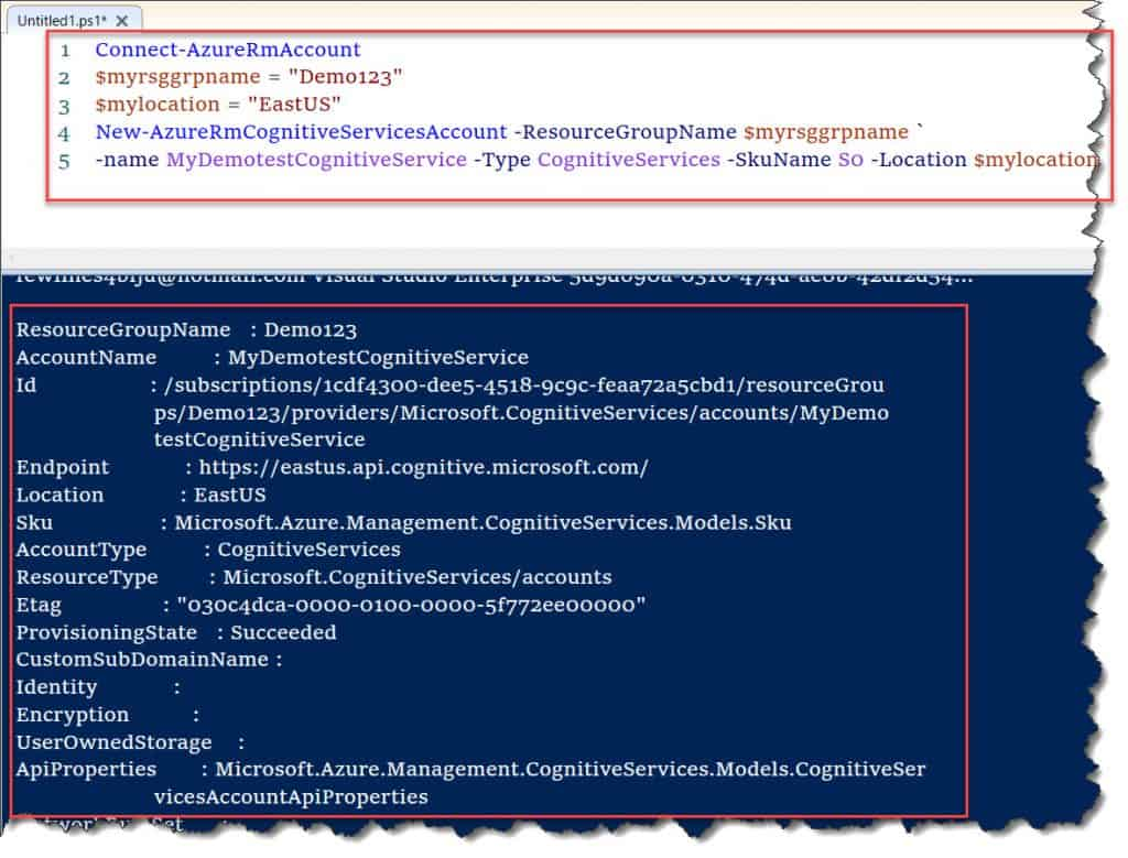 Create the Azure Cognitive Services Account PowerShell