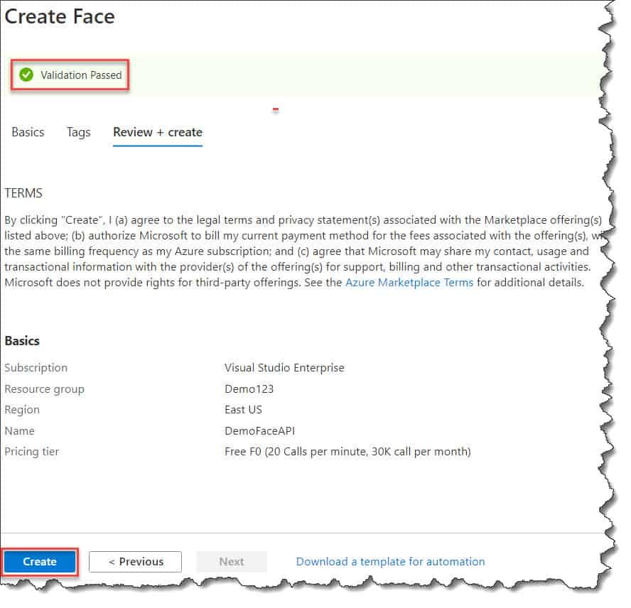 Creating The Face API using Azure Portal