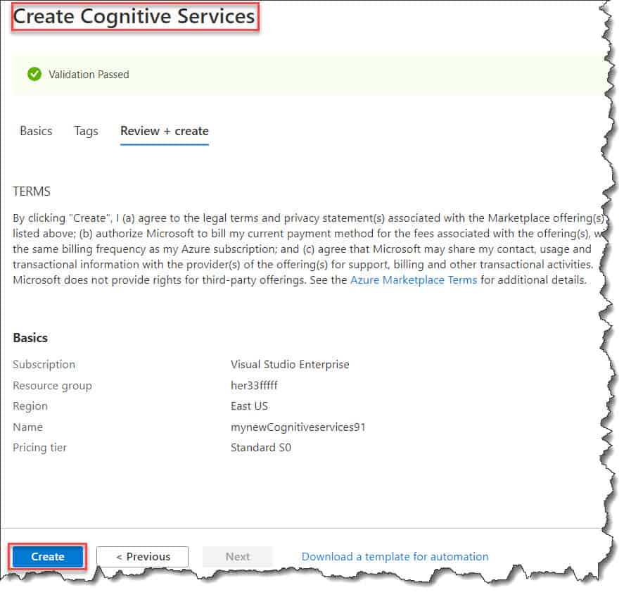 How to Create Azure Cognitive Service using Azure Portal