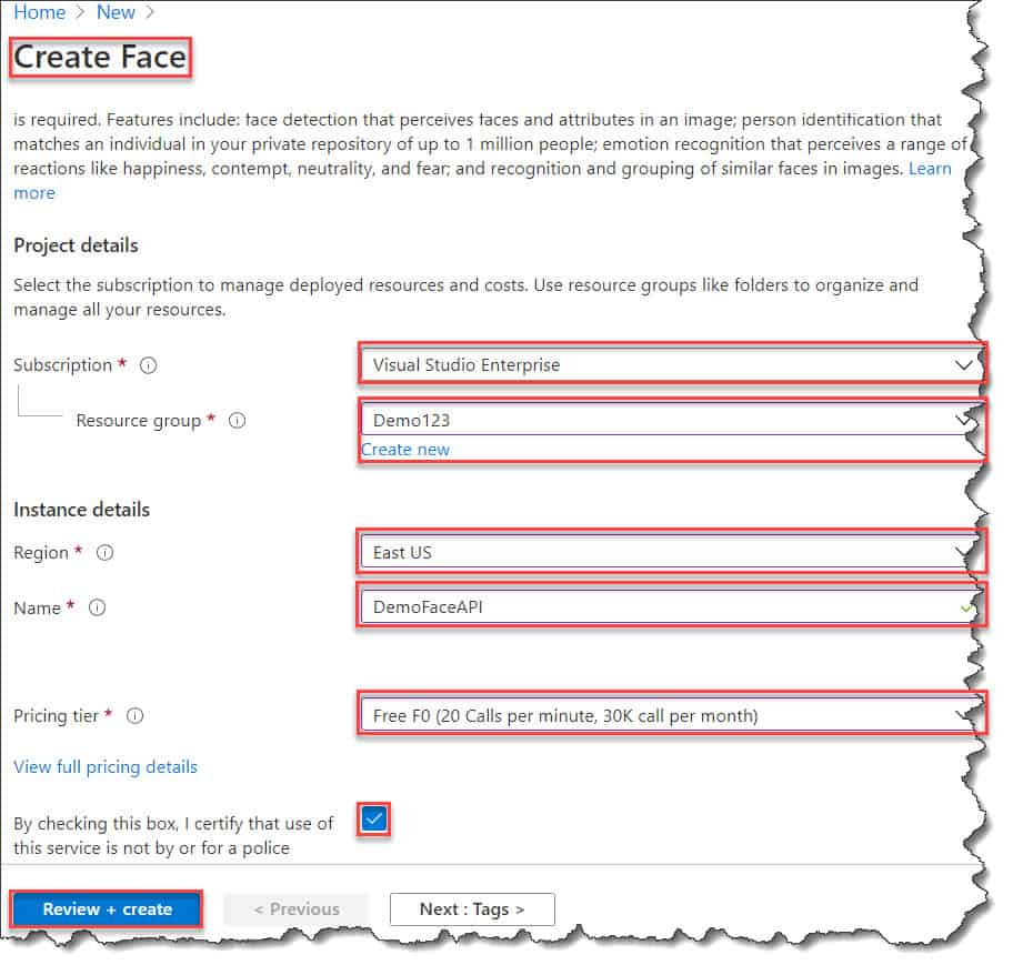 How to Create The Face API in Azure Portal