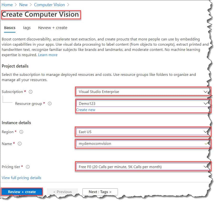 How to create Computer Vision API