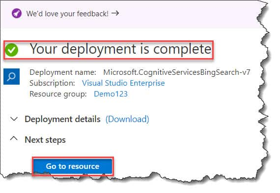 How to create Create Azure Cognitive Services Bing Search API