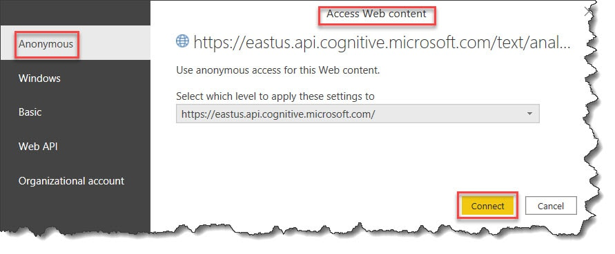 Power BI and Azure text Analytics API