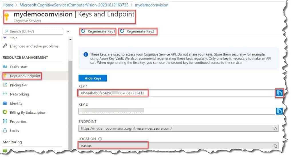 Steps to Configure Microsoft Computer vision API