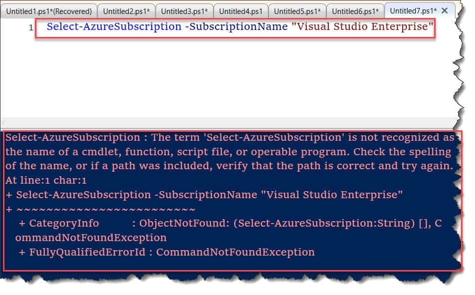 The term 'Select-AzureSubscription' is not recognized as the name of a cmdlet