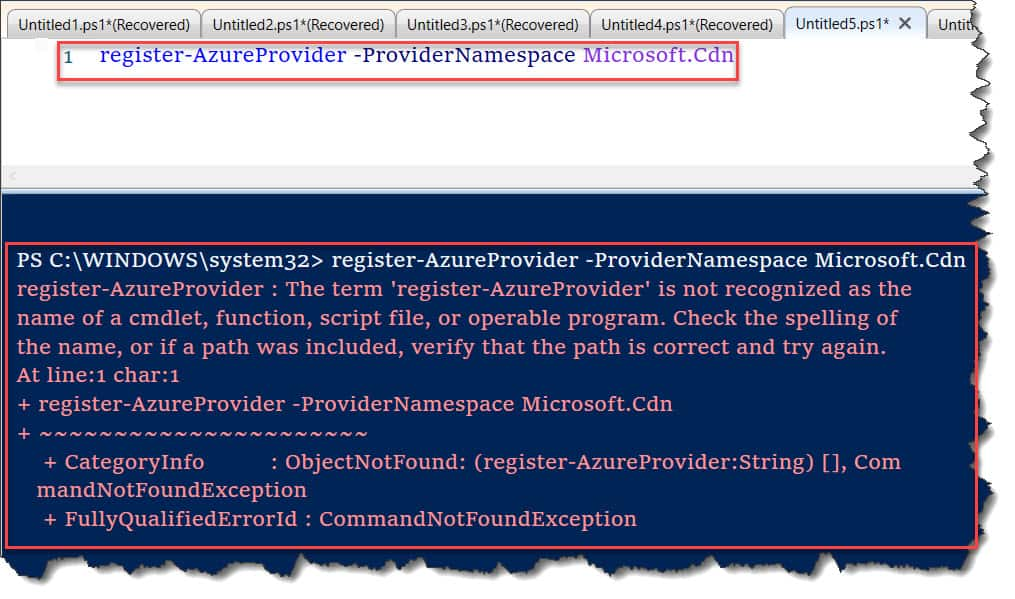 The term 'register-AzureProvider' is not recognized as the name of a cmdlet