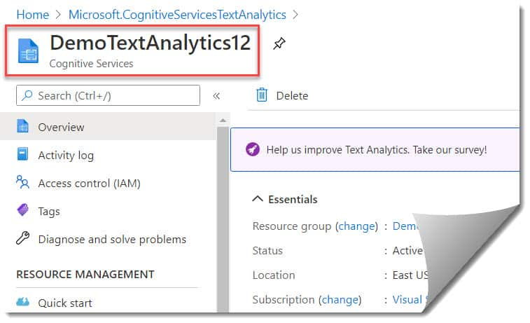 Develop Azure Cognitive Services Text Analytics API In Azure Portal