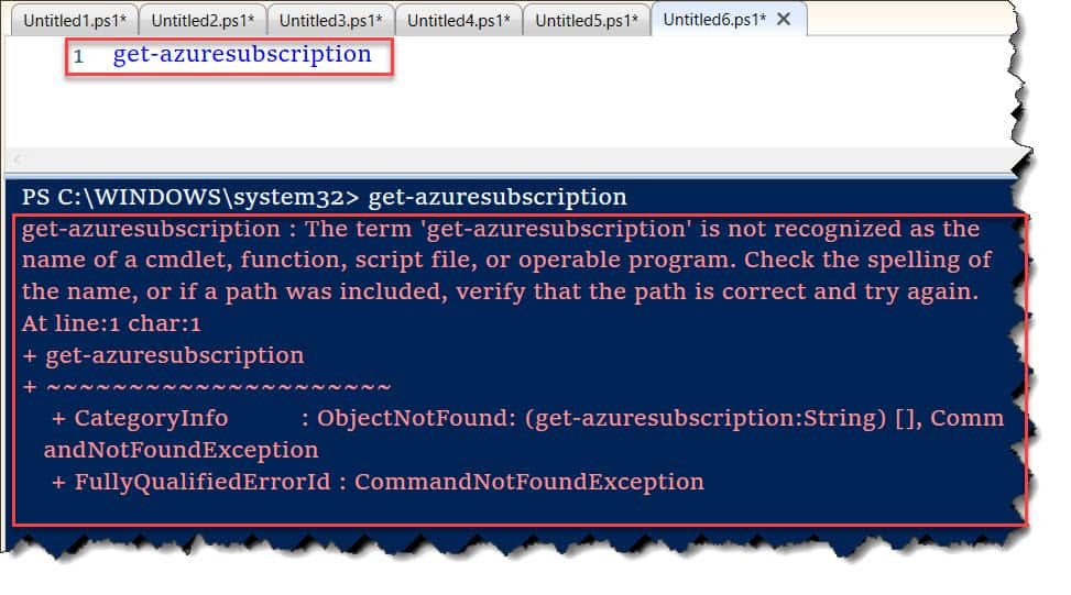 The term 'get-azuresubscription' is not recognized