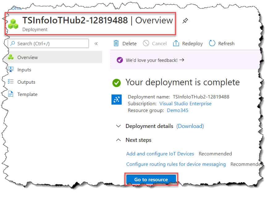 Create Azure IoT Hub Azure Portal