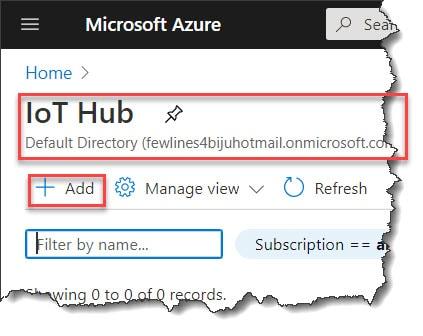 Create Azure IoT Hub in Azure Portal