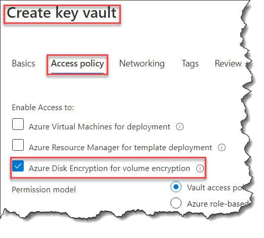 Enable disk encryption in azure portal