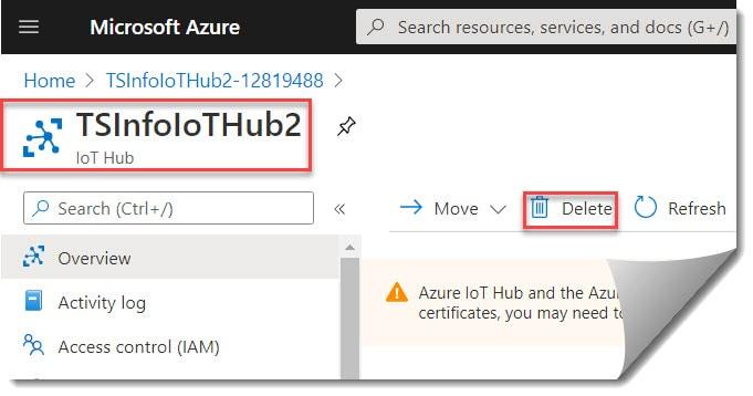 How To Delete IoT Hub Using Azure Portal