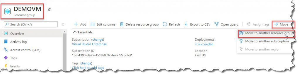 How to Use the Azure portal to move a VM to another resource group
