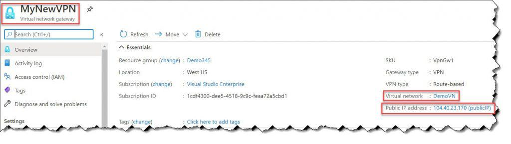 How to configure VPN in Azure
