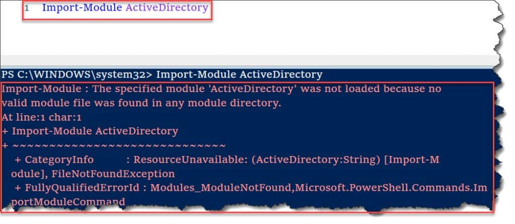 The specified module ActiveDirectory was not loaded