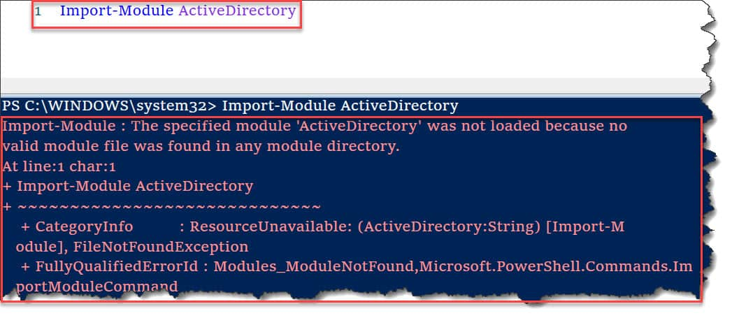 The specified module 'ActiveDirectory' was not loaded