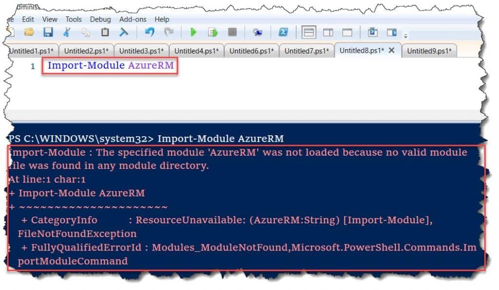 The specified module 'AzureRM' was not loaded
