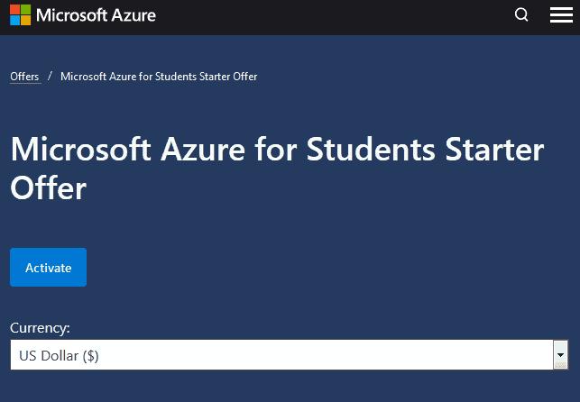 the Microsoft Azure for Students Starter Pack registration website page