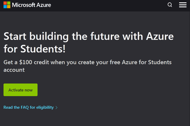 the Microsoft Azure for Students registration website page