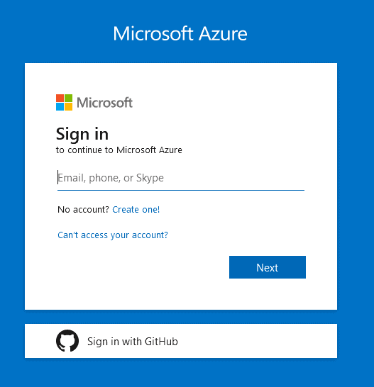 the Microsoft Azure Portal page to access the Azure for Students Program