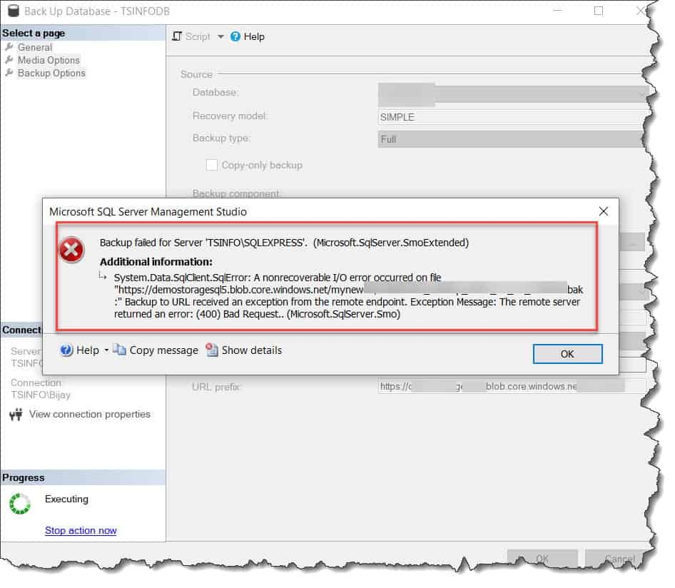 Backup to URL received an exception from the remote endpoint. Exception Message. The remote server returned an error (400) Bad Request.. (Microsoft.SqlServer.Smo)